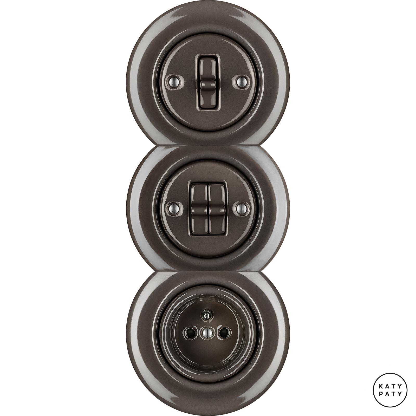 Porcelain toggle switches - a 2 gang - multiple X ()  - BRUNETUM | Katy Paty