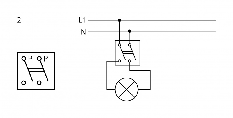 Arrangement 2 - Double-pole switch - 2 circuit switching from 1 place at the same time | Katy Paty