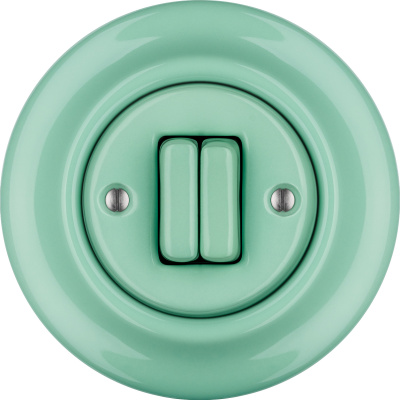 Porcelain switches - a double gang ()  - PNOE MENTOL | Katy Paty