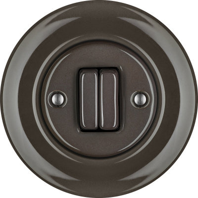 Porcelain switches - a double gang ()  - BRUNETUM | Katy Paty